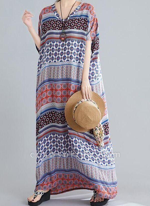 Multicolor Plus Size Tunic Geometric V-Neckline Casual Maxi Plus Dress