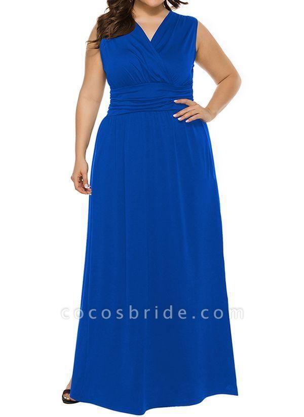 Blue Plus Size Solid V-Neckline Casual Ruffles Maxi Plus Dress