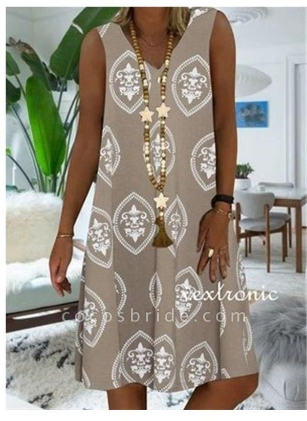 Khaki Plus Size Tunic Color Block V-Neckline Casual Knee-Length Plus Dress