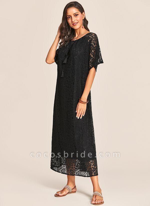 Black Plus Size Tunic Solid V-Neckline Casual Lace Plus Dress