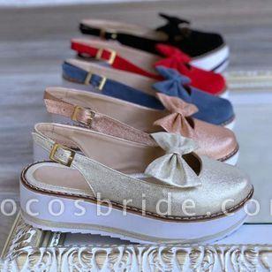 Women's Bowknot Buckle Slingbacks Wedge Heel Sandals