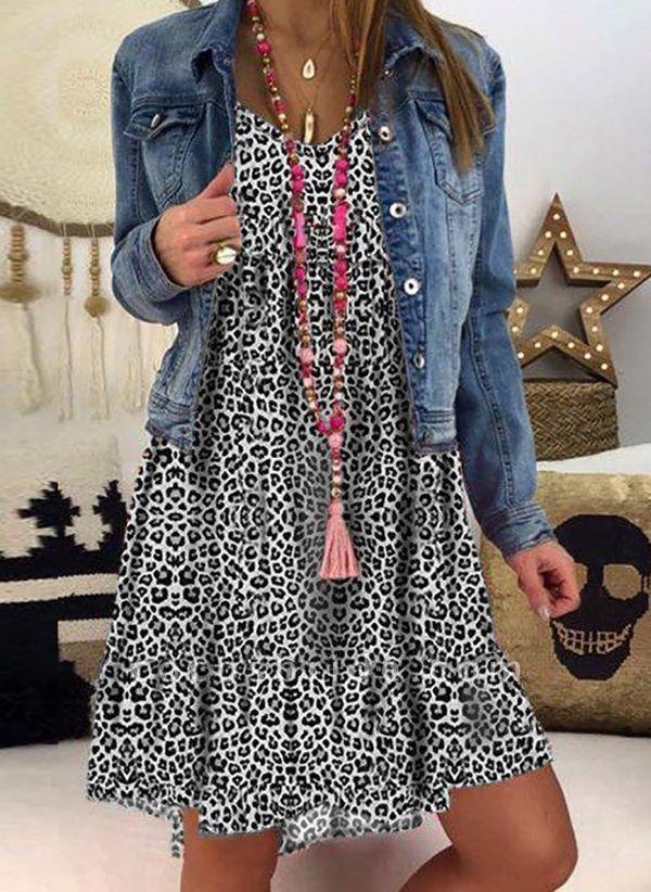 Gray Plus Size Tunic Leopard V-Neckline Casual Knee-Length Plus Dress