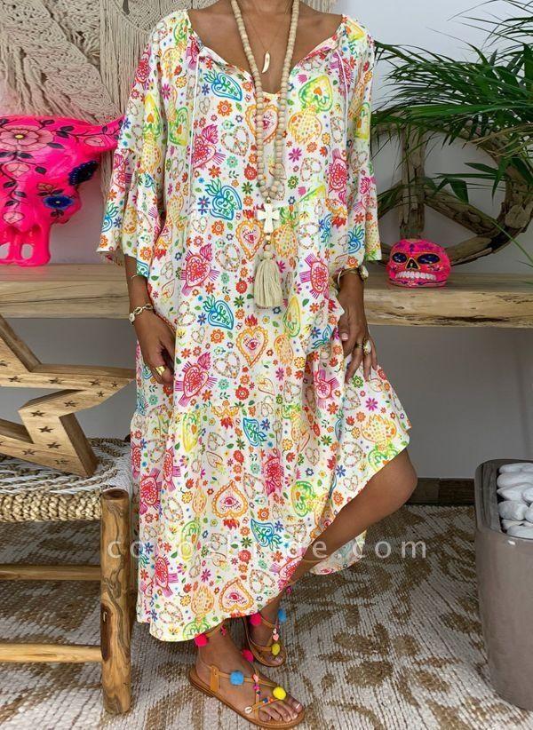 Multicolor Plus Size Floral V-Neckline Vintage Tassel Maxi Plus Dress