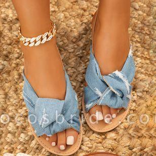 Women's Leopard Flats Low Top Denim Cloth Flat Heel Sandals