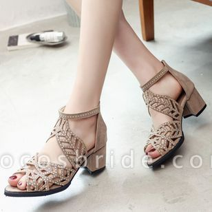 Women's Hollow-out Pointed Toe Heels Nubuck Chunky Heel Sandals