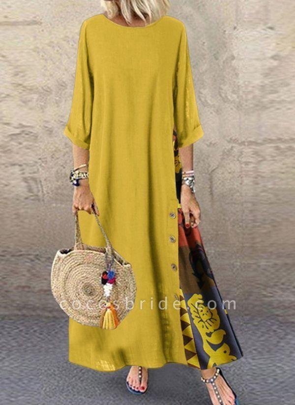 Yellow Plus Size Tunic Color Block Round Neckline Casual Buttons Plus Dress