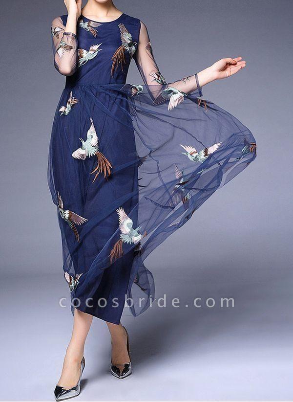 Dark Blue Plus Size Animal Round Neckline Casual Lace Maxi Plus Dress