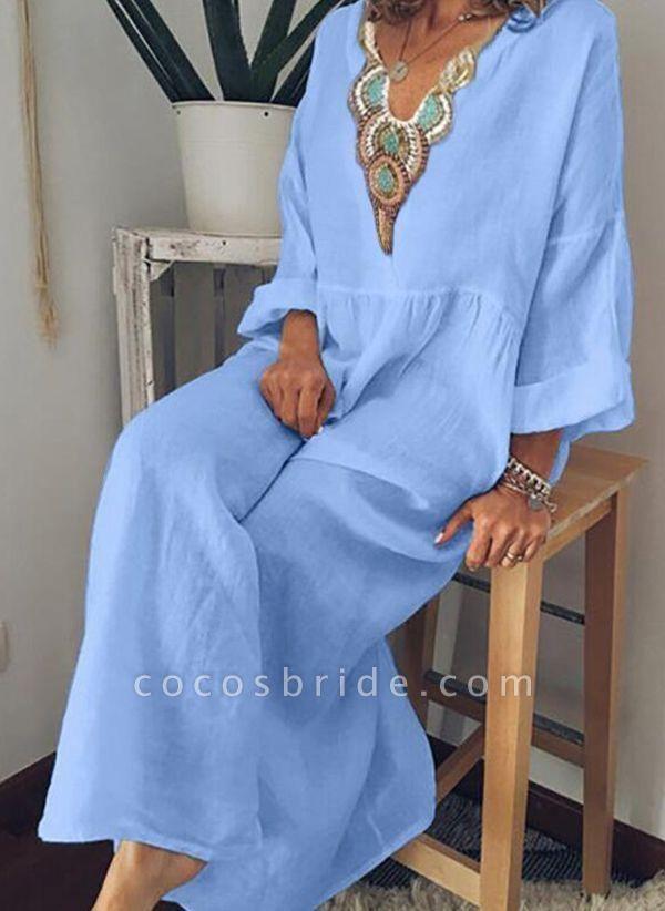 Sky Blue Arabian Floral Tunic V-Neckline Shift Dress