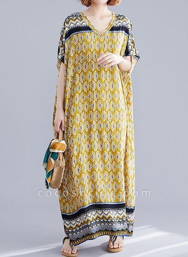 Yellow Plus Size Block V-Neckline Casual Maxi Plus Dress