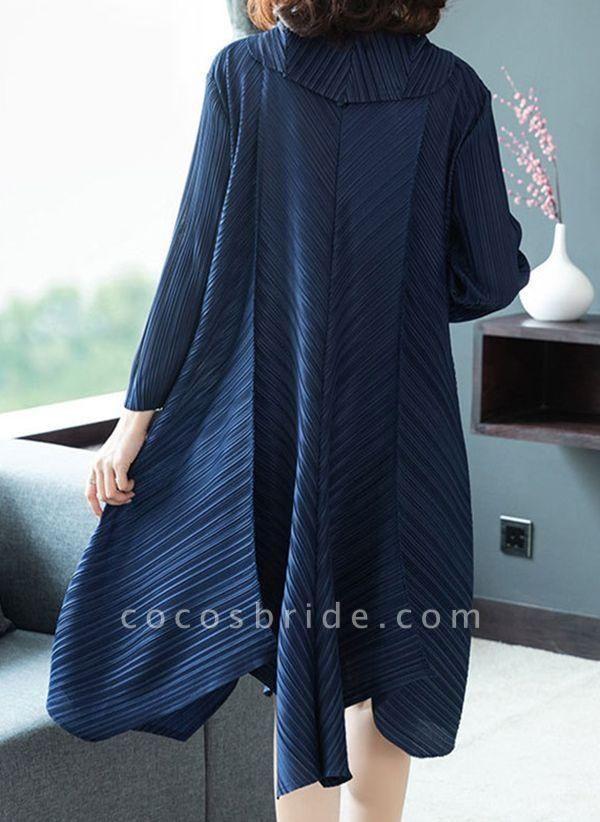 Dark Blue Plus Size Solid V-Neckline Casual Midi A-line Dress Plus Dress
