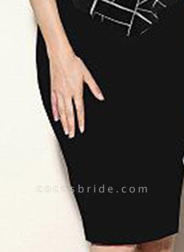 Black Plus Size Color Block Round Neckline Casual Bodycon Dress Short Sleeve Plus Dress