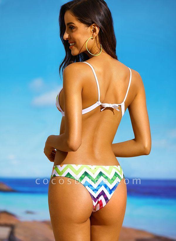 Nylon Color Block Bikinis Swimwear