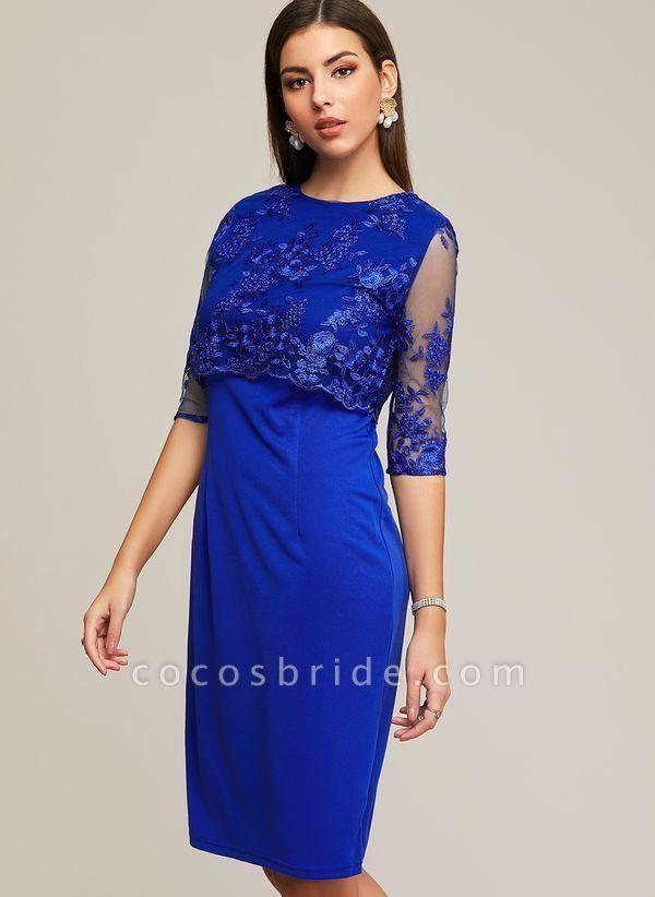 Blue Plus Size Solid Round Neckline Elegant Midi X-line Dress Plus Dress