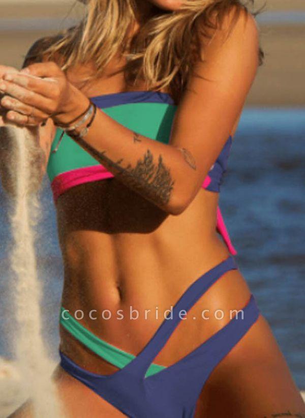 Polyester Bandeau Color Block Bikinis Swimwear