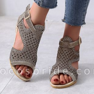 Women's Buckle Hollow-out Wedge Heel Sandals