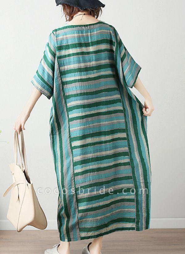Green Plus Size Tunic Color Block Round Neckline Casual Midi Plus Dress