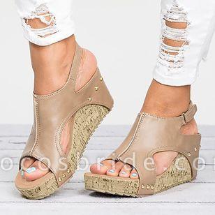 Women's Velcro Heels Wedge Heel Sandals