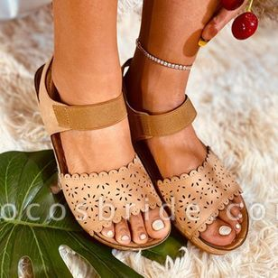 Women's Hollow-out Slingbacks Cloth Wedge Heel Sandals