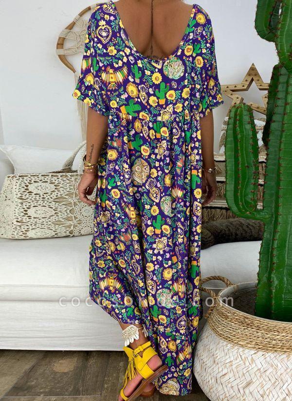 Purple Plus Size Tunic Floral V-Neckline Casual Midi Plus Dress