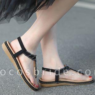 Women's Rhinestone Flip-Flops Flat Heel Sandals
