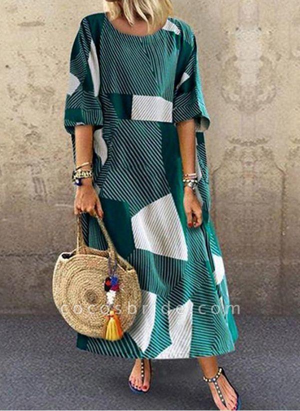 Green Plus Size Color Block Round Neckline Casual Maxi Shift Dress Plus Dress