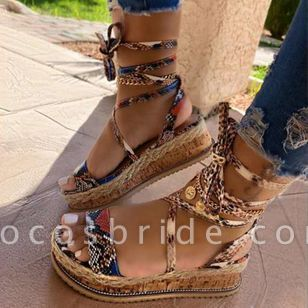 Women's Lace-up Slingbacks Wedge Heel Sandals