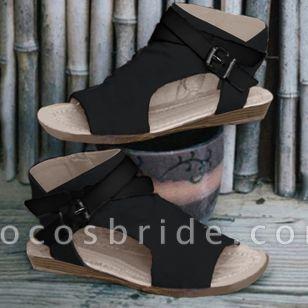 Women's Buckle Slingbacks Cloth Low Heel Sandals