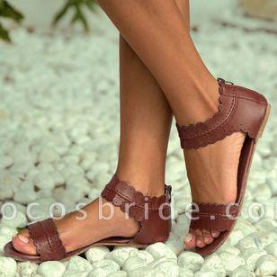 Women's Zipper Leatherette Low Heel Sandals