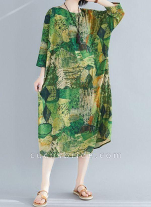 Plus Size Tunic Color Block Round Neckline Midi Plus Dress