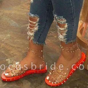 Women's Rivet Buckle Slingbacks Flat Heel Sandals