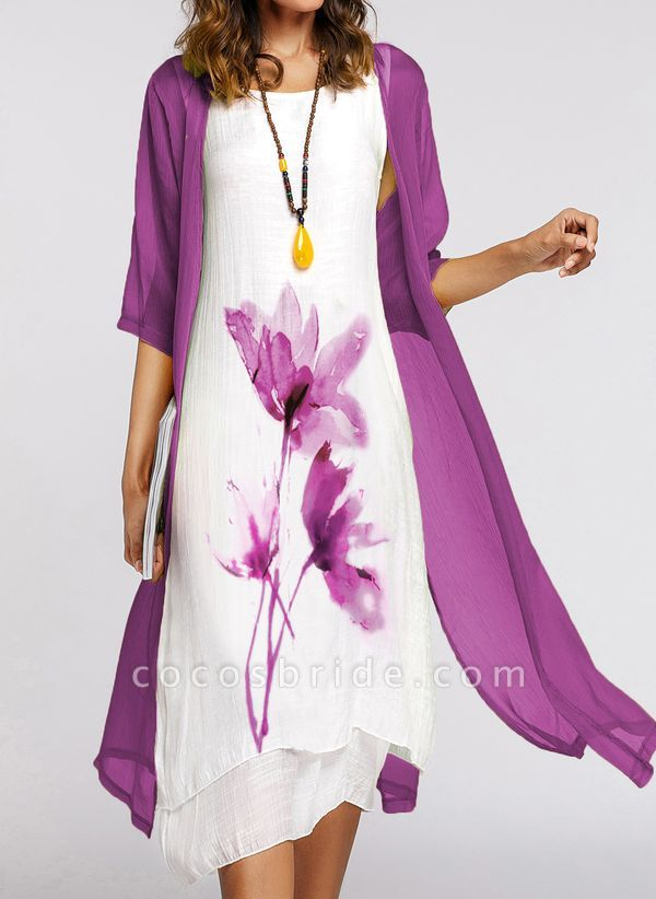 Chinese Style Floral Wrap Round Neckline A-line Dress