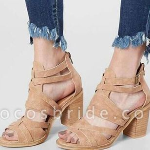 Women's Buckle Zipper Chunky Heel Sandals