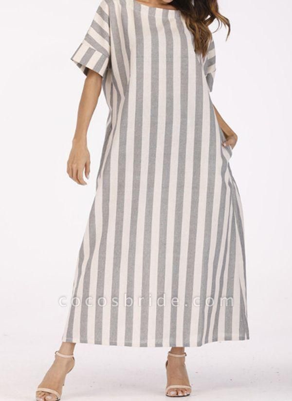 Off-white Plus Size Tunic Stripe Round Neckline Casual Pockets Plus Dress