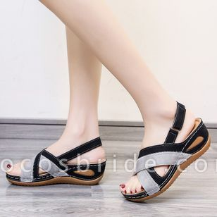 Women's Velcro Split Joint Slingbacks Leatherette Flat Heel Sandals