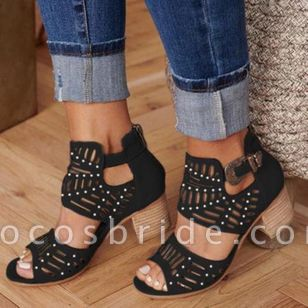 Women's Hollow-out Peep Toe Chunky Heel Sandals