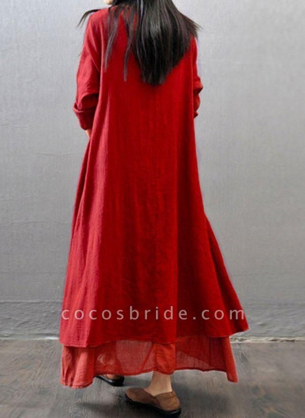 Red Casual Solid Tunic Round Neckline Shift Dress