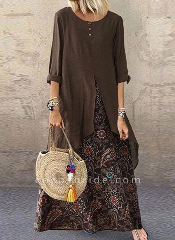 Brown Plus Size Tunic Color Block Round Neckline Casual Buttons Plus Dress
