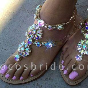 Women's Rhinestone Flats Sparkling Glitter Flat Heel Sandals