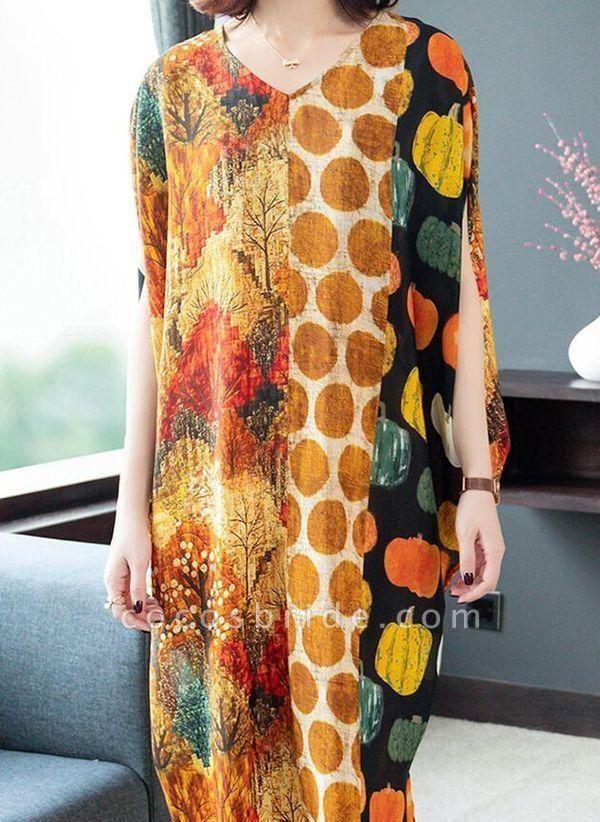 Orange Plus Size Tunic Color Block V-Neckline Casual Midi Plus Dress