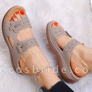 Women's Flower Slingbacks Flat Heel Sandals
