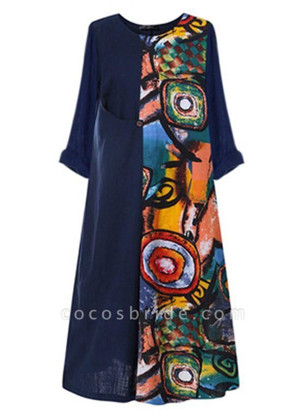 Red Plus Size Color Block Round Neckline Casual Maxi Shift Dress Plus Dress