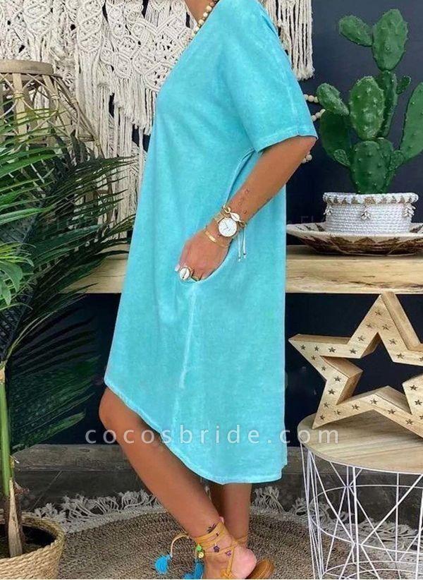Blue Plus Size Tunic Solid V-Neckline Casual Pockets Plus Dress