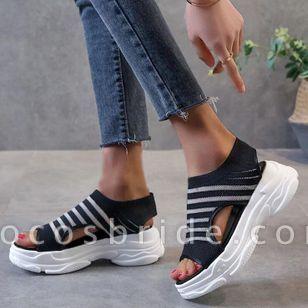 Women's Mesh Round Toe Fabric Flat Heel Sandals