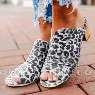 Women's Leopard Heels Chunky Heel Sandals