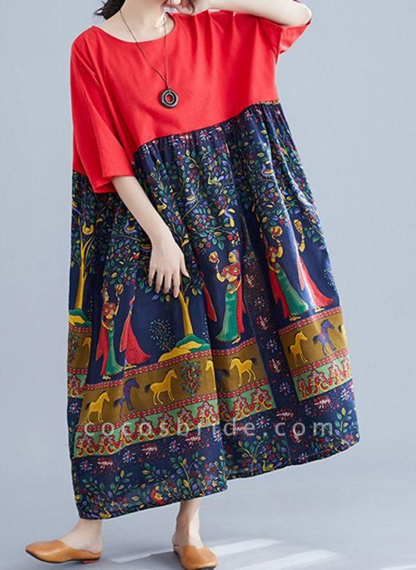 Red Plus Size Tunic Character Round Neckline Casual Maxi Plus Dress