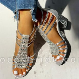 Women's Crystal Zipper Round Toe Chunky Heel Sandals