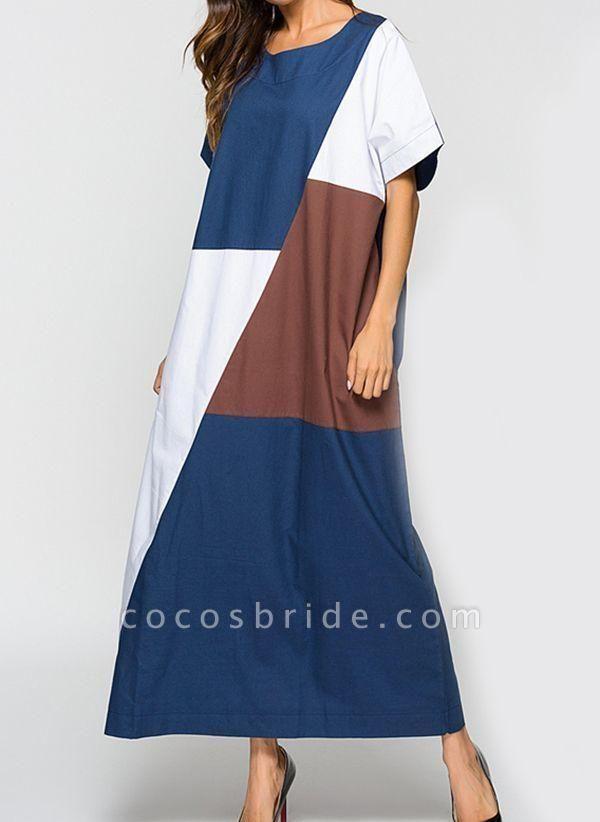 Blue Plus Size Tunic Color Block Round Neckline Casual Maxi Plus Dress