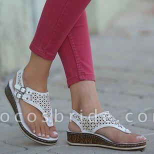 Women's Buckle Hollow-out Flip-Flops Wedge Heel Sandals