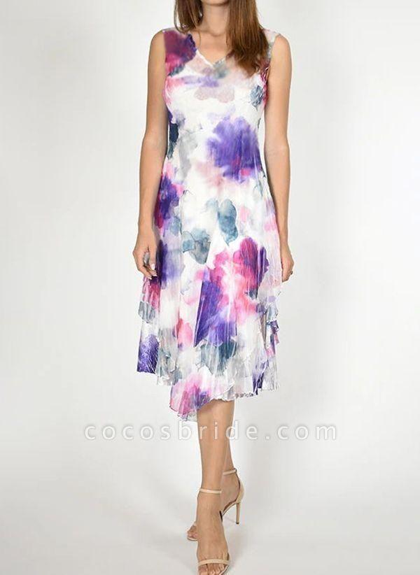 Purple Plus Size Tunic Color Block V-Neckline Chic Midi Plus Dress