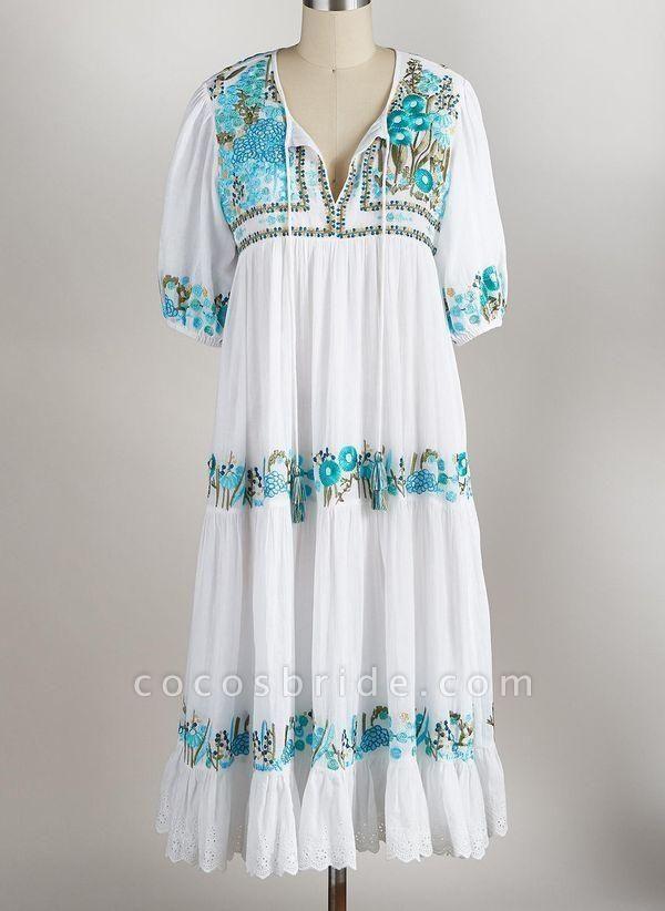 Mint Green Plus Size Tunic Floral V-Neckline Boho Tassel Plus Dress